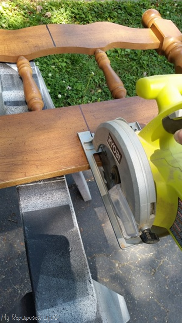 cut headboard using small circular saw