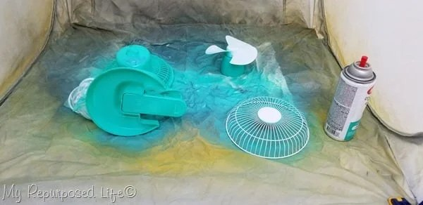 follow directions on spray can when painting desk fan for dorm room