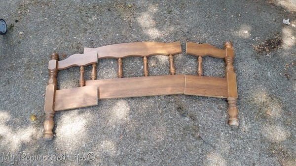 reclaimed bed into child bench