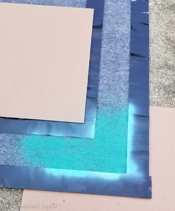 testing spray paint coverage outdoor rug