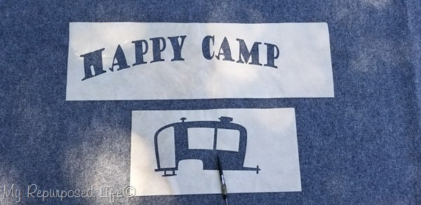 weed contact paper stencil Happy Camper
