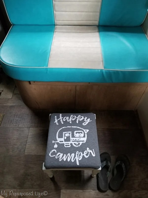happy camper t-shirt as small footstool cover
