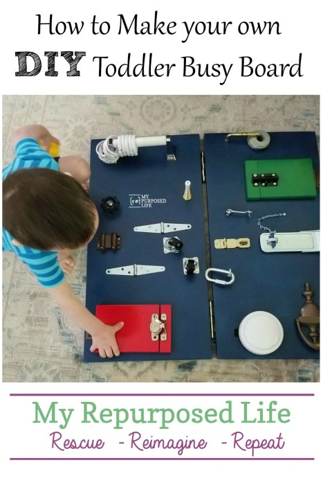 diy toddler busy board made from repurposed hardware bits and pieces