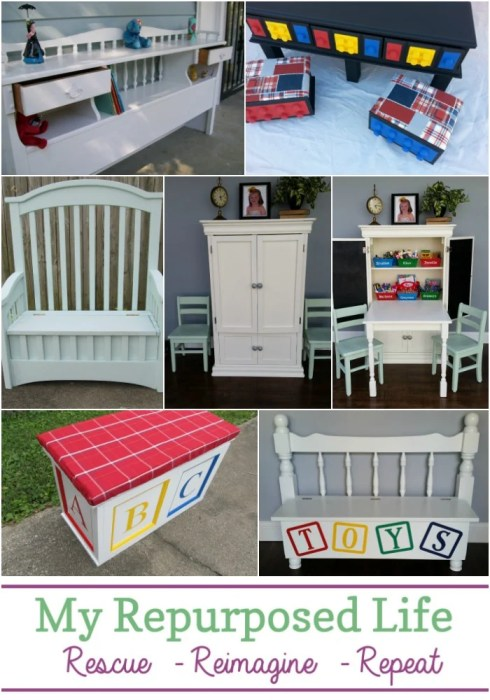 kids organization ideas using repurposed furniture items MyRepurposedLife