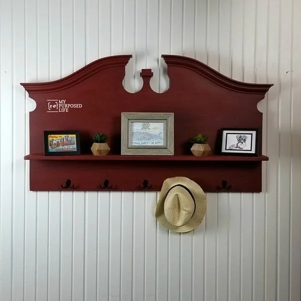 headboard wall shelf with hooks