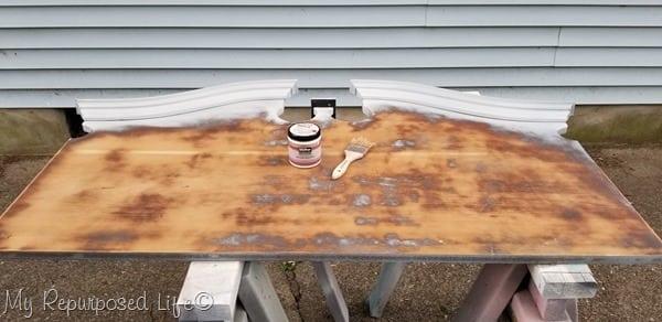 paint sanded headboard