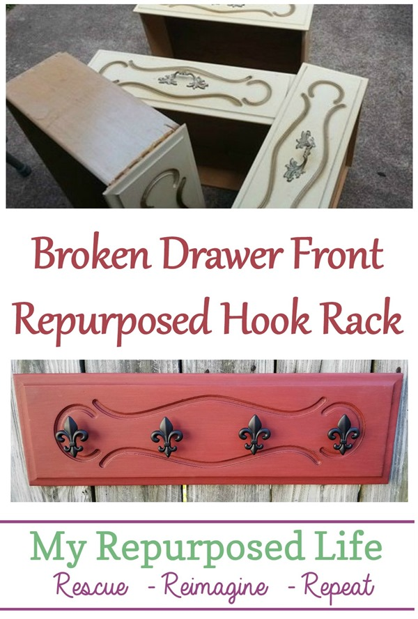 broken drawer front repurposed hook rack MyRepurposedLife