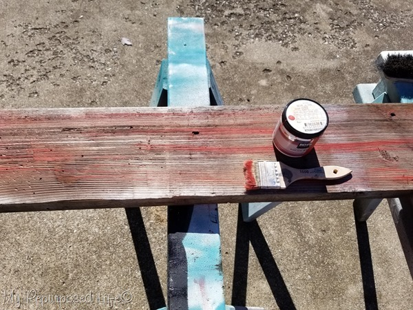 drybrush weathered board for thankful sign
