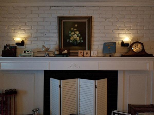 mood lighting on fireplace
