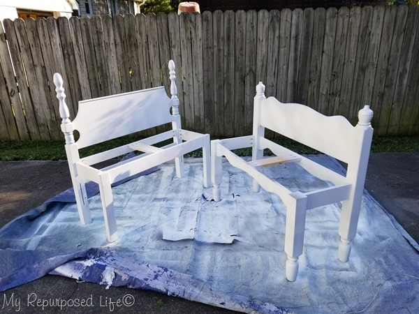 twin bed bench painted white