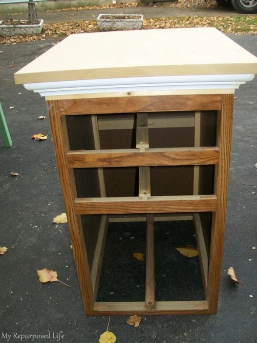 repurposed desk drawer sections make a tall chest