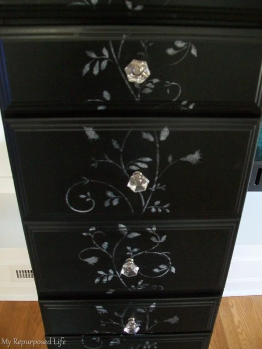 new glass knobs for repurposed desk into tall chest