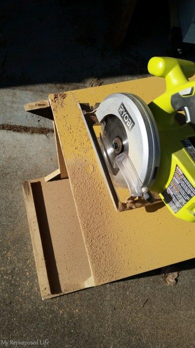 repurposed nightstand cut with circular saw