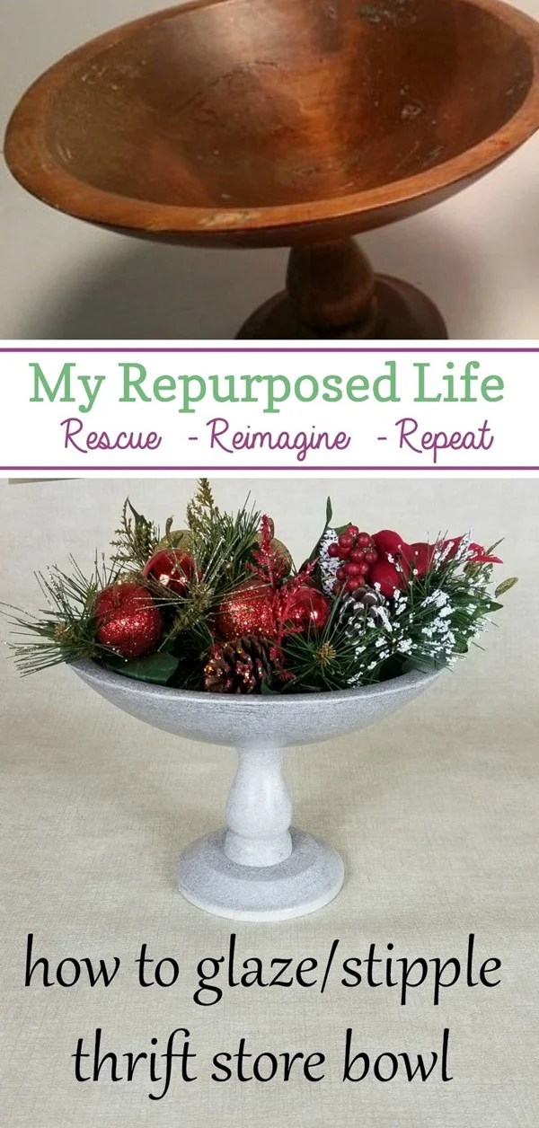 how to glaze-stipple thrift store bowl MyRepurposedLife