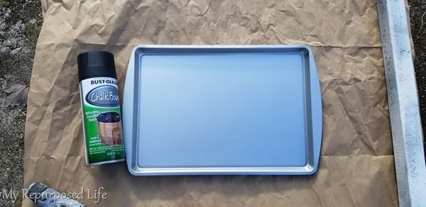 spray cookie sheet with chalkboard paint