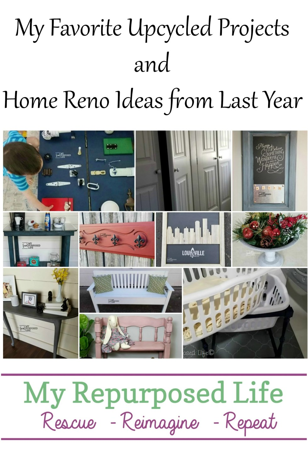 Looking back at favorite upcycled projects and home reno ideas. Whether you're a beginner or experienced, there's something for everyone. What will you make? #MyRepurposedLife #repurposed #upcycle #projects #homereno via @repurposedlife