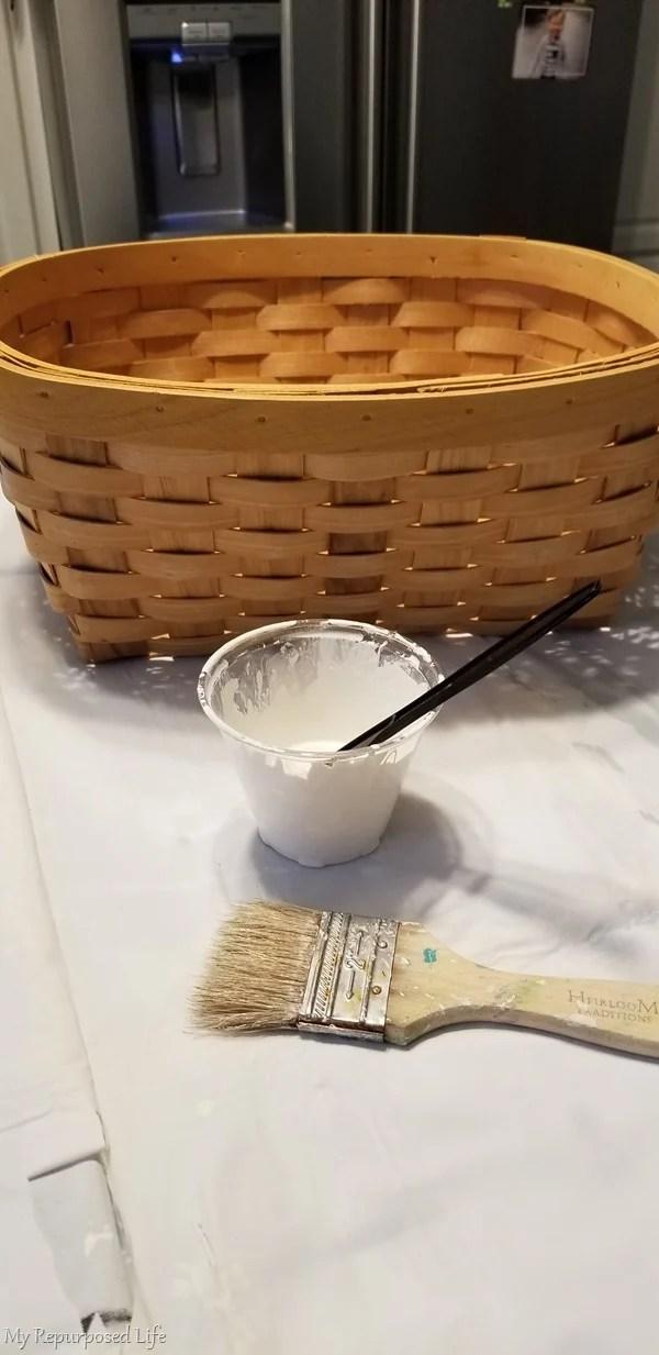 paint woven basket before decoupage