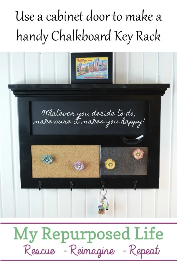 How to make a chalkboard key rack wall organizer out of a repurposed cabinet door. Complete with a cork board, chalkboard, and magnet board. Bonus key hooks. #MyRepurposedLife #repurposed #cabinet #door #chalkboard #memo #keyrack via @repurposedlife