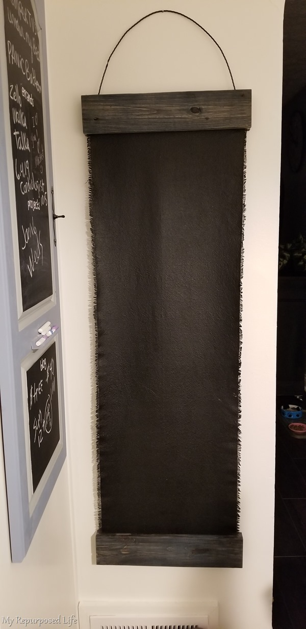 long drop cloth chalkboard made with pallet boards