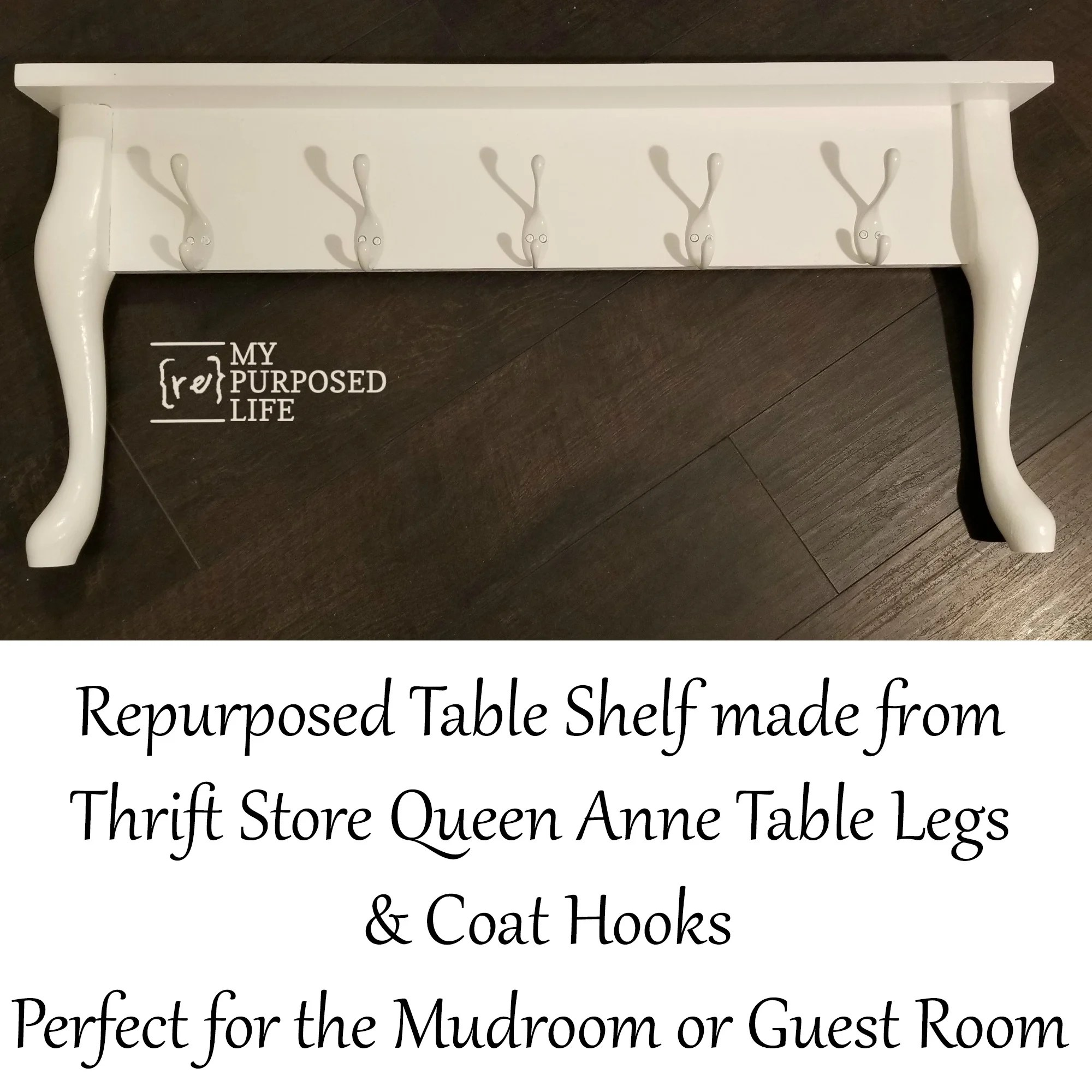 Repurposed Table Shelf Queen Anne Legs My Repurposed