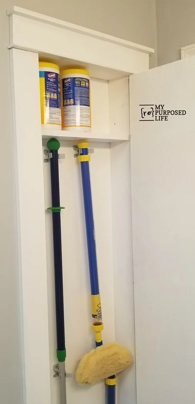 diy broom closet installed between the studs MyRepurposedLife