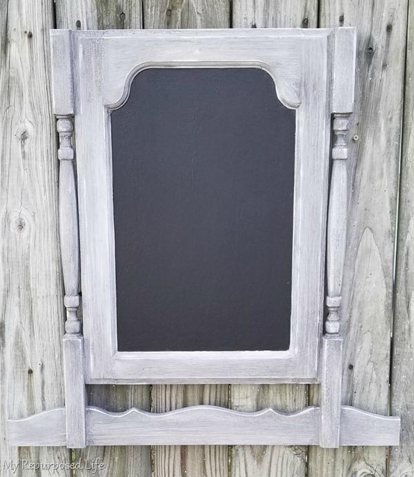 glazed distressed faux dresser harp chalkboard