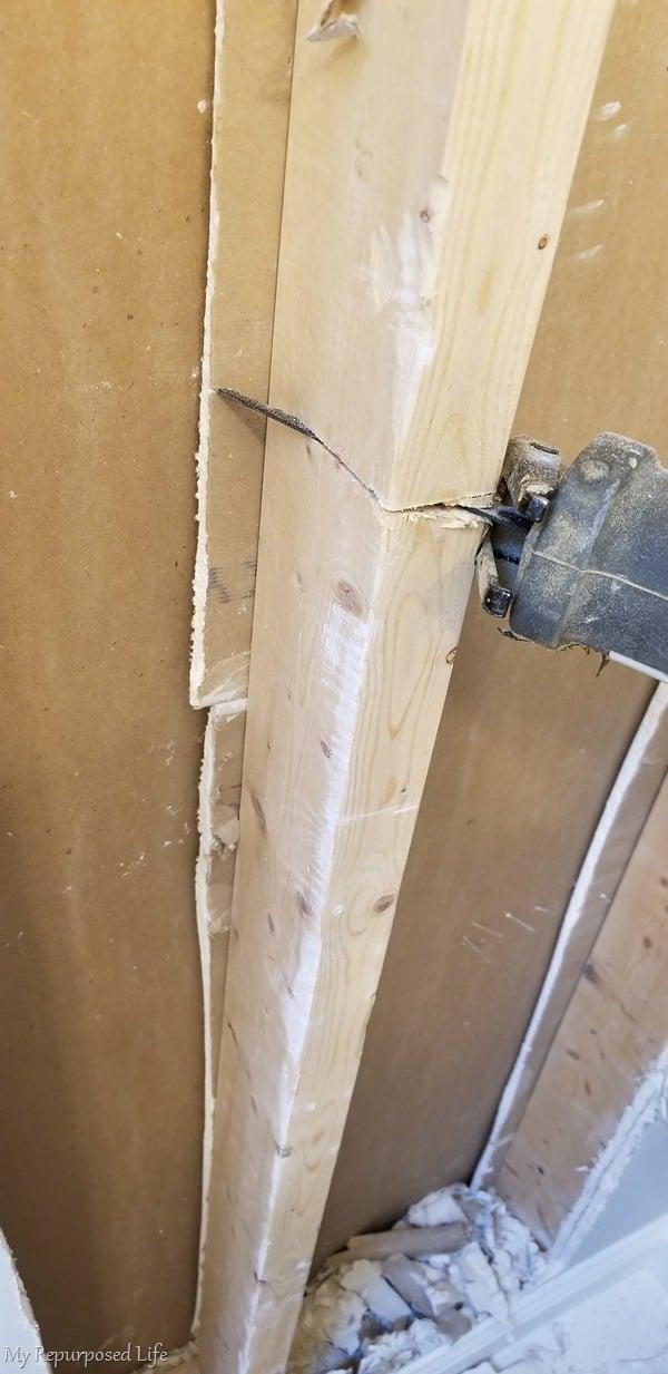 reciprocating saw cuts stud for broom closet