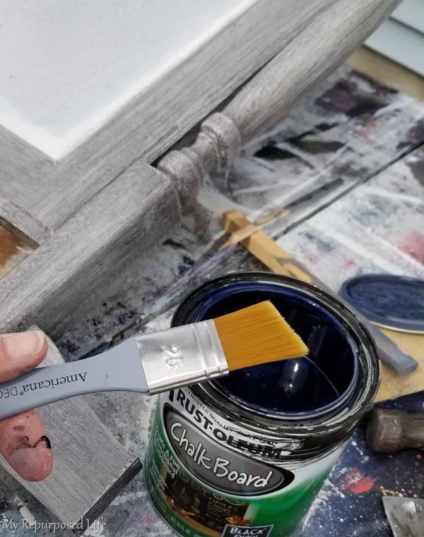 time for chalkboard paint on the dresser harp chalkboard