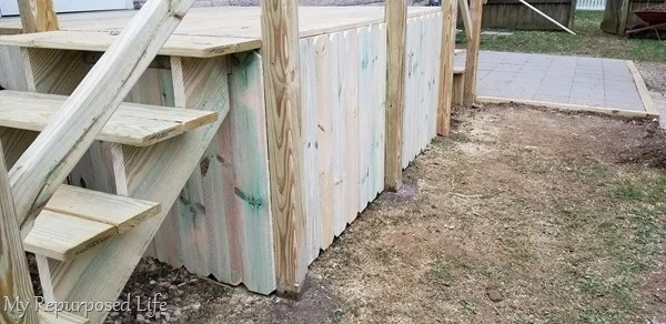dog eared fence to surround under deck