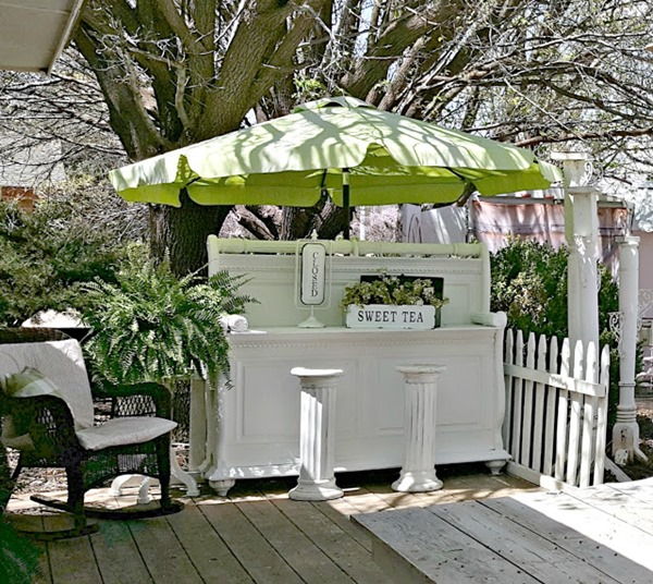 beverage bar from a repurposed sleigh bed