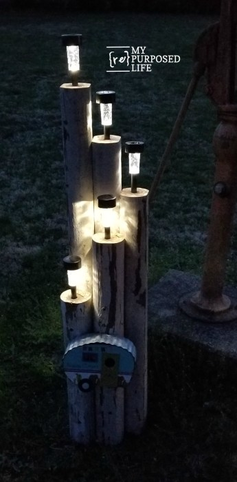 landscape timbers dollar store solar lights