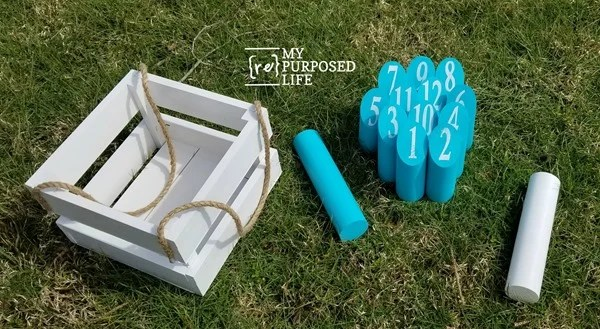 make your own outdoor bowling Molkky game MyRepurposedLife