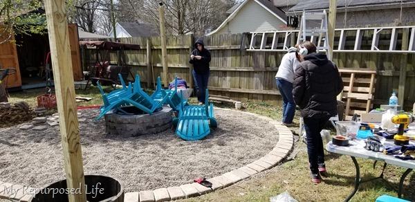 work station for backyard makeover