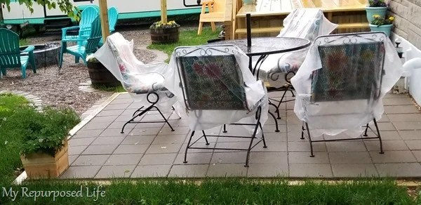 cover patio chair cushions with garbage bags