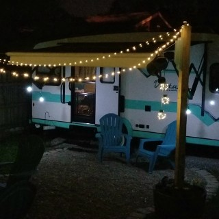 texas lamp post with solar lights camper retreat