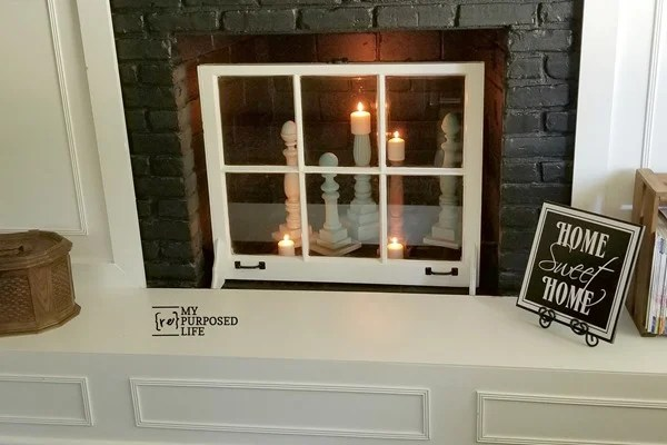 easy window project for the fireplace MyRepurposedLife
