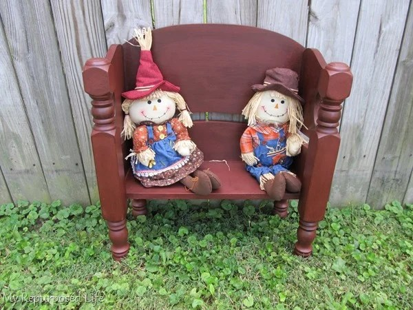 red bench for kids or dolls