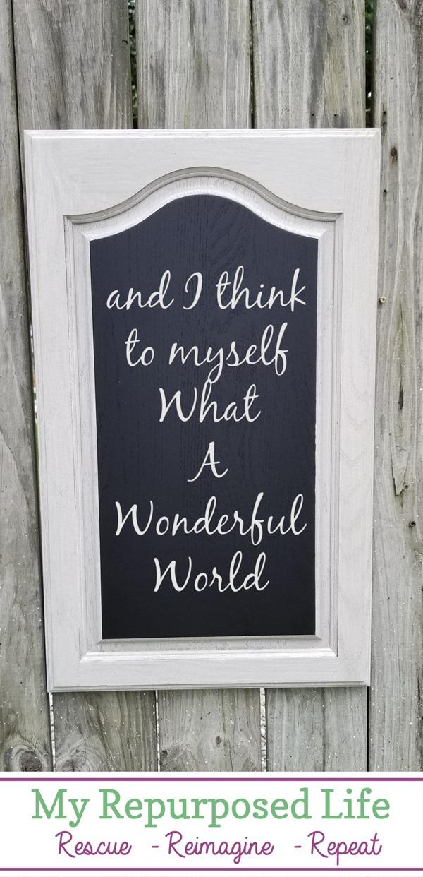 reclaimed cabinet door chalkboard project MyRepurposedLife