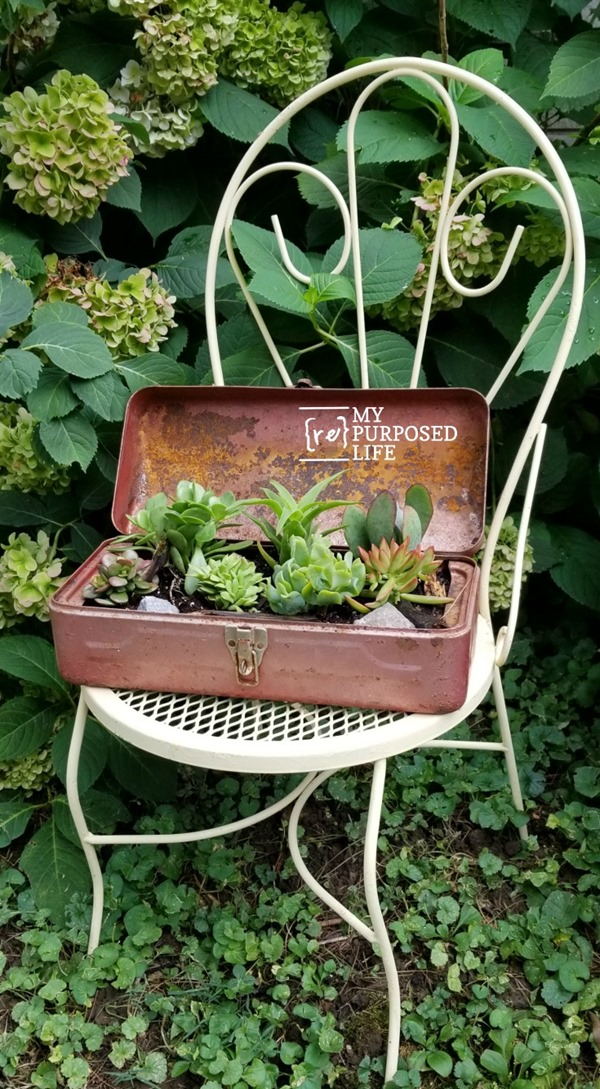 repurposed vintage toolbox planter with succulents MyRepurposedLife