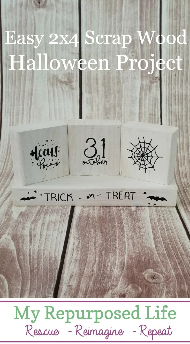 It doesn't get any easier than this scrap 2x4 wood project for Halloween. If you're a woodworker, with a lot of scraps, this kind of project is perfect for you. The possibilities are endless for all the holidays. You could even make this reversible, getting two projects out of one. #MyRepurposedLife #easy #diy #project #holiday #halloween #scrapwood  via @repurposedlife