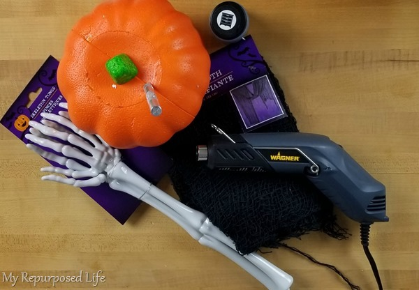 materials to make a creepy jack-o-lantern man