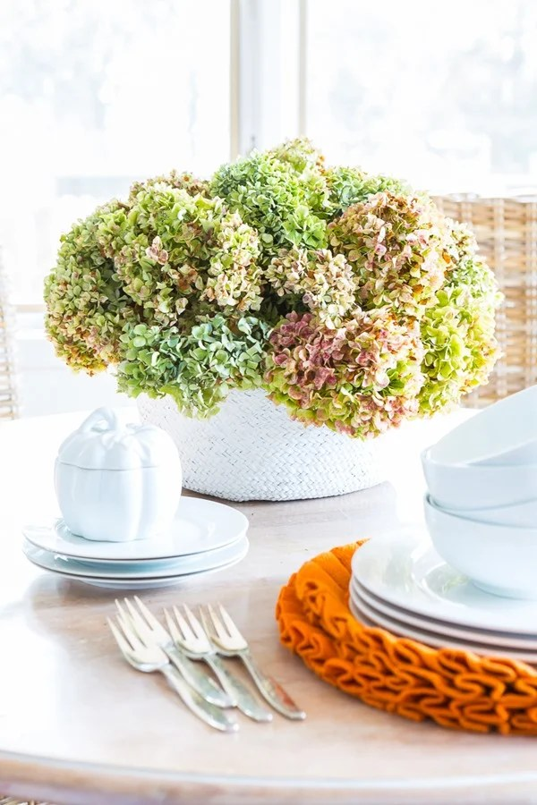 painted basket with hydrangeas for fall decor