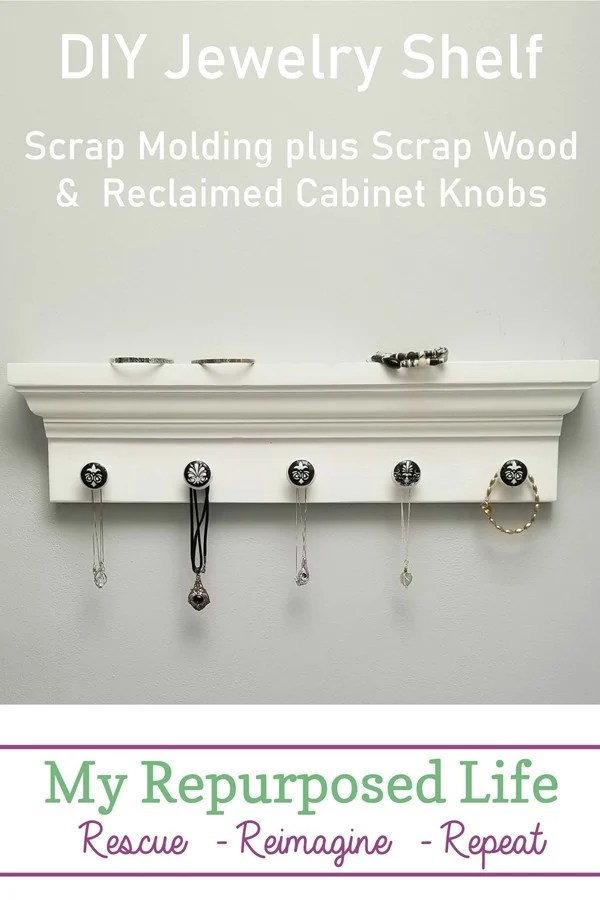 white diy jewelry shelf with decoupage knobs MyRepurposedLife