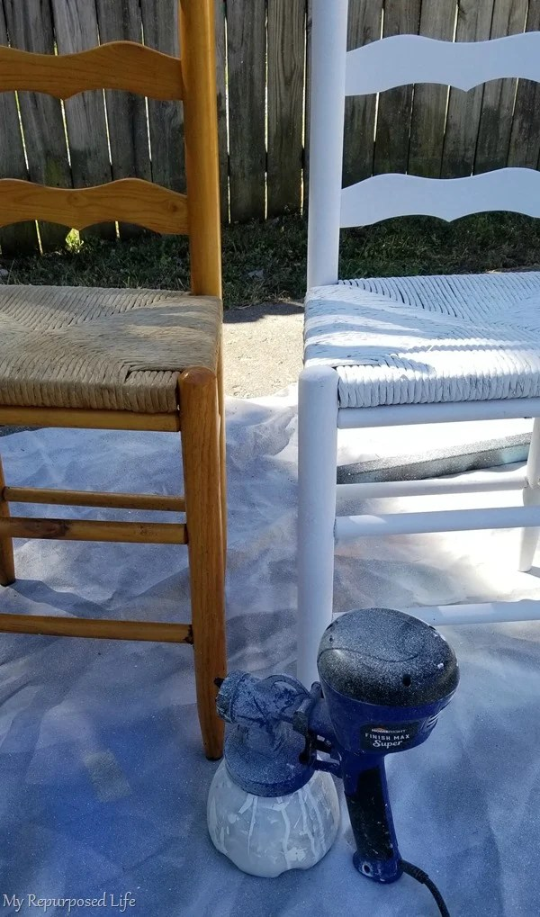 diy ladder back chair paint makeover before and after