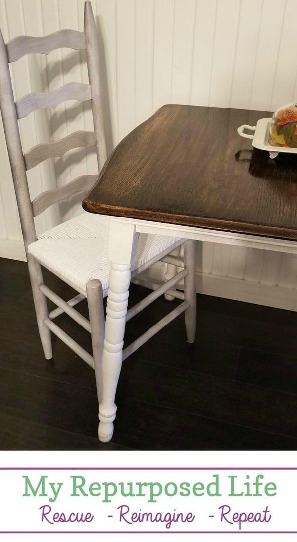 ladder back chair makeover white paint smoked glaze MyRepurposedLife