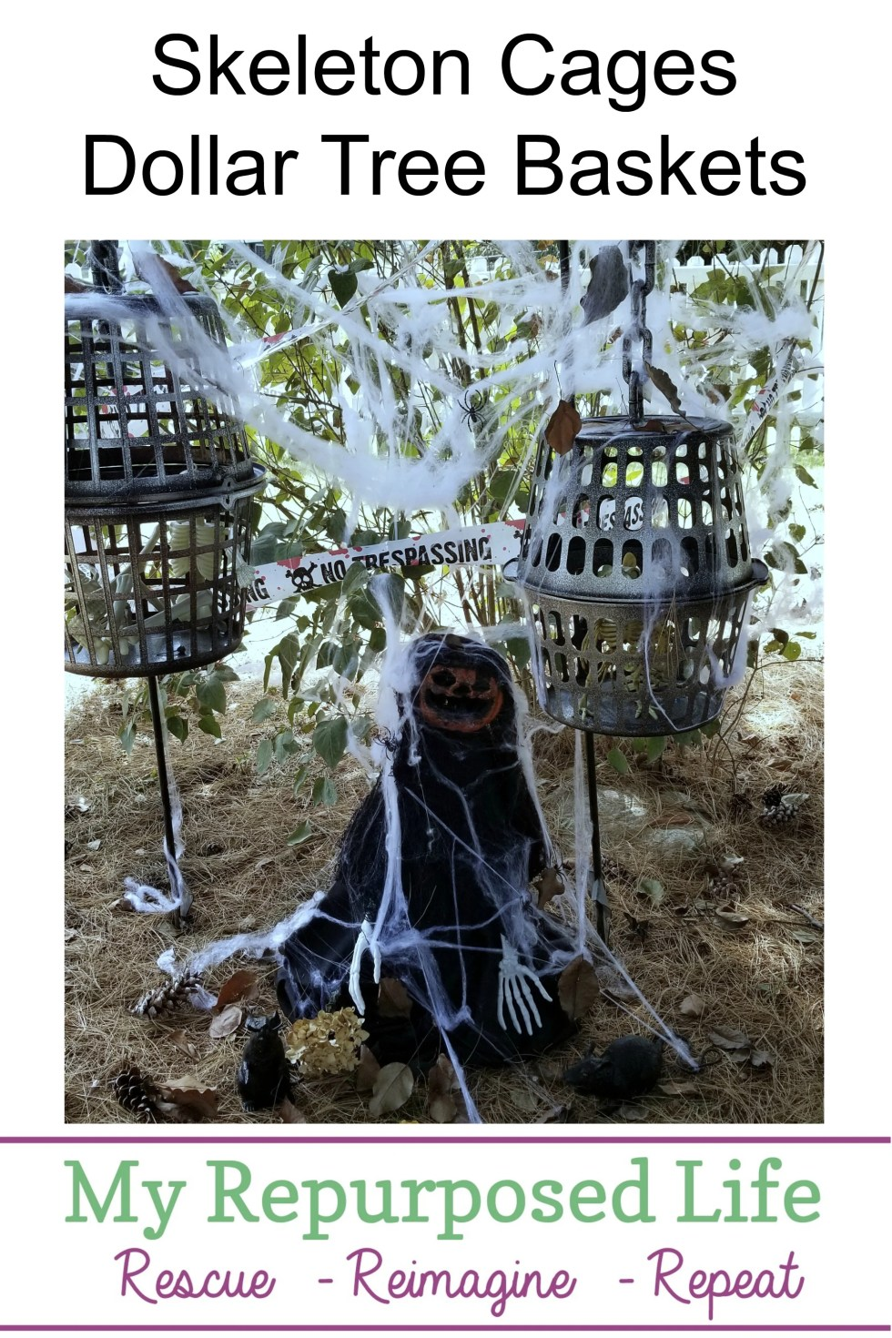 How to make Halloween Skeleton Cages using dollar store baskets and other one dollar items. Easy and inexpensive alternative to buying Halloween Decor from the big box stores. #MyRepurposedLife #DollarTree #Halloween #dollarstoredesignsquad #diy #easy #projects via @repurposedlife