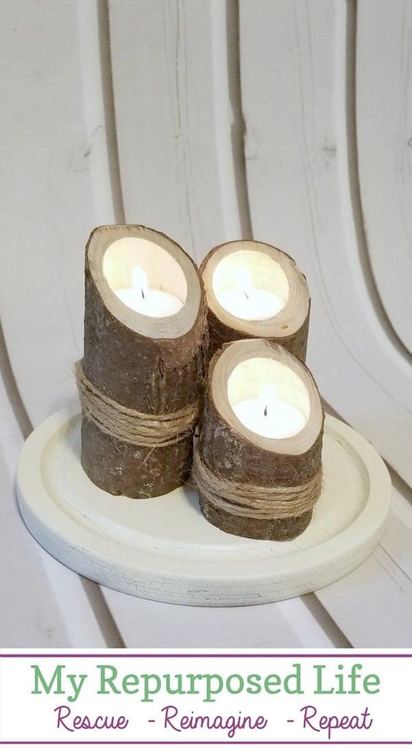 small log vertical candle holders MyRepurposedLife