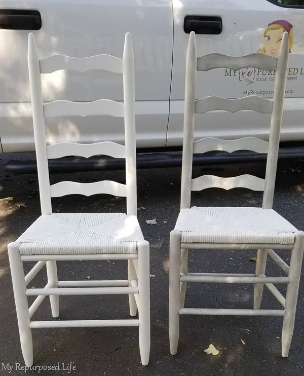 white glazed ladder back chair before and after