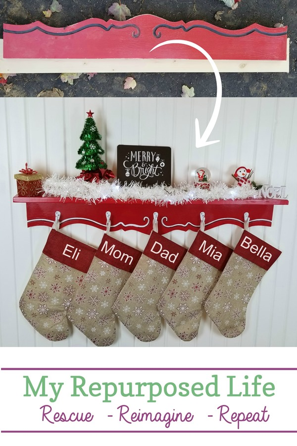 Easy step by step directions will show you how easy it is to make a Christmas Stocking Shelf for your family. You may not have a valance, but this could easily be made from two boards. #MyRepurposedLife #Christmas #stockingholder #shelf #easy #diy #project via @repurposedlife
