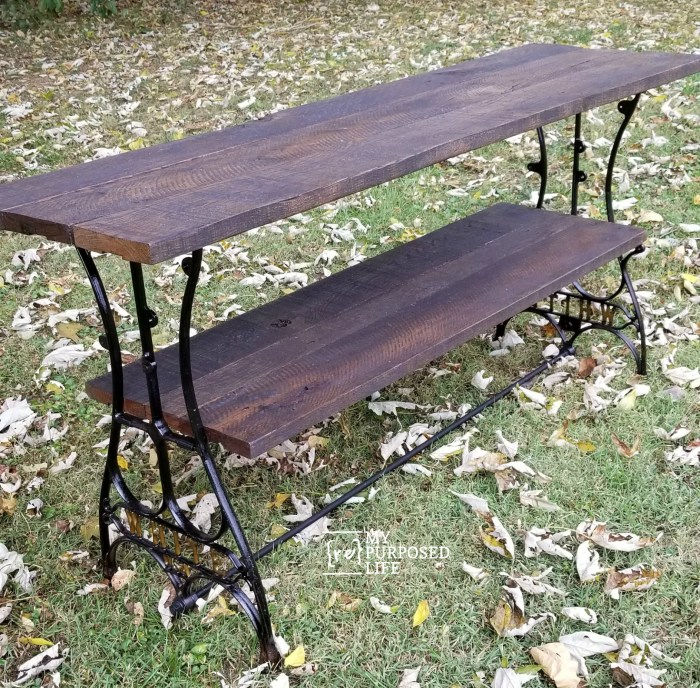 sofa table made from sewing machine base